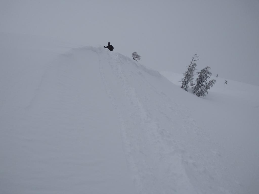 """<a href=""""https://www.sierraavalanchecenter.org/avalanche-terms/ski-cut"""" title=""""A stability test where a skier, rider or snowmobiler rapidly crosses an avalanche starting zone to see if an avalanche initiates. Slope cuts can be dangerous and should only be performed by experienced people on small avalanche paths or test slopes."""" class=""""lexicon-term"""">Ski cut</a> on this a several other <a href=""""https://www.sierraavalanchecenter.org/avalanche-terms/wind-loading"""" title=""""The added weight of wind drifted snow."""" class=""""lexicon-term"""">wind loaded</a> test slopes produced no results."""