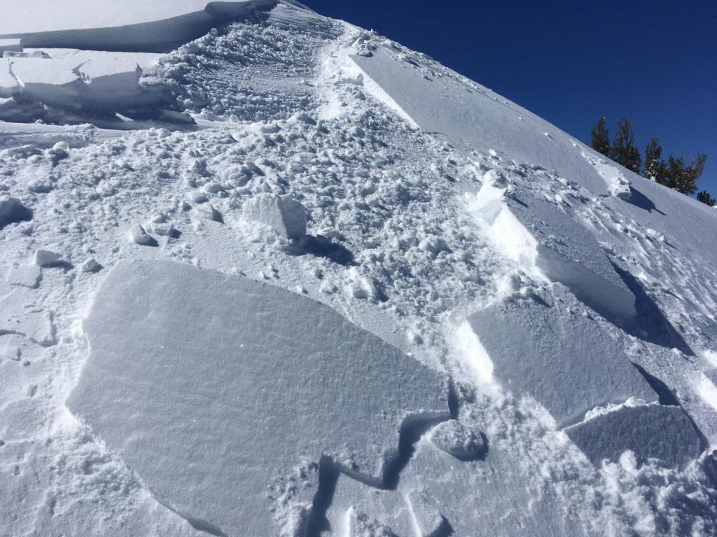Same test slope. My partner noticed this as terrain irregularity with signs of wind effected snow.