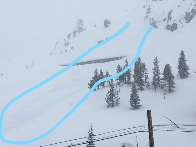 "<a href=""https://www.sierraavalanchecenter.org/avalanche-terms/d1"" title=""Relatively harmless to people."" class=""lexicon-term"">D1</a> loose wet natural <a href=""https://www.sierraavalanchecenter.org/avalanche-terms/avalanche"" title=""A mass of snow sliding, tumbling, or flowing down an inclined surface."" class=""lexicon-term"">avalanche</a>"