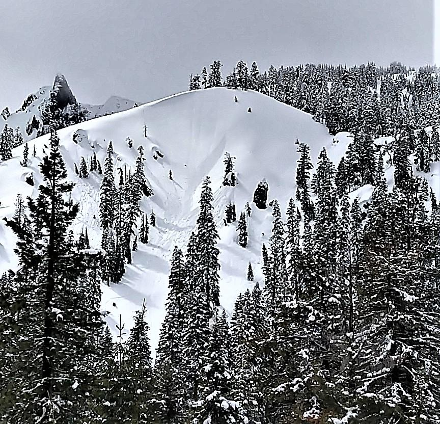 Recent natural loose wet activity on a NE facing slope between 7800 and 7400 ft.