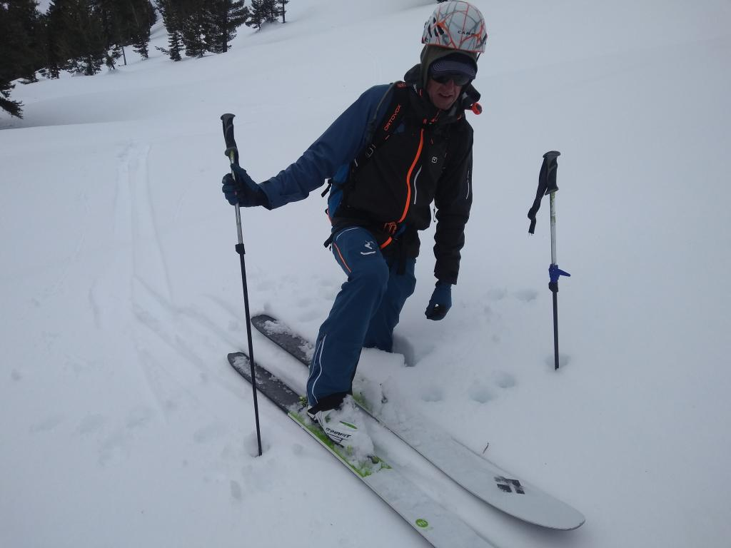 "Skipen over knee deep at 8700&#039; on E <a href=""/avalanche-terms/aspect"" title=""The compass direction a slope faces (i.e. North, South, East, or West.)"" class=""lexicon-term"">aspect</a> at 11:30am."