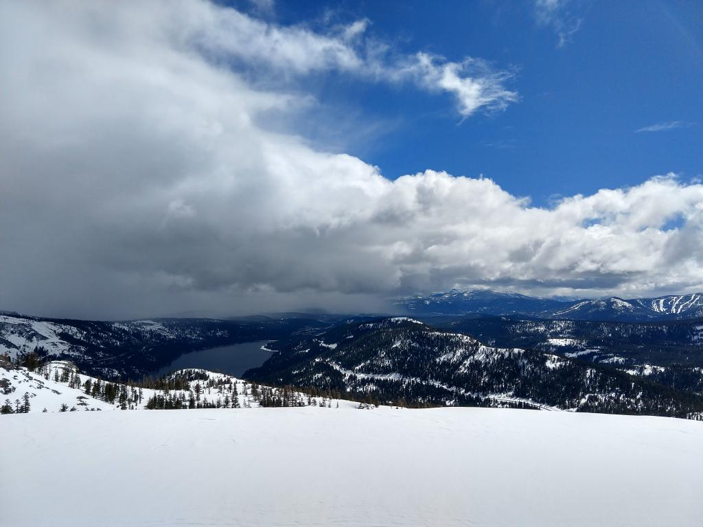 The weather was a mix of snow squalls and sun.