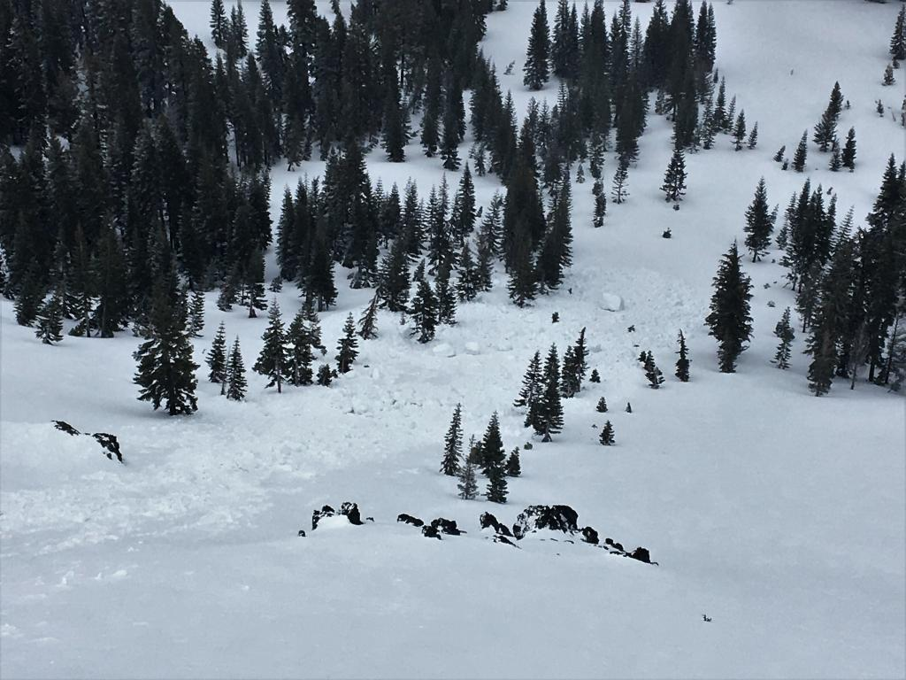Large chunks of debris at the bottom of this slope.