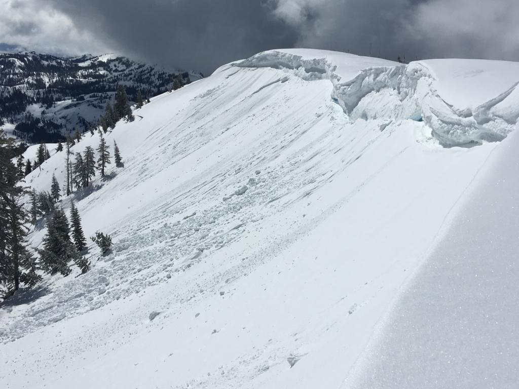 "<a href=""/avalanche-terms/cornice"" title=""A mass of snow deposited by the wind, often overhanging, and usually near a sharp terrain break such as a ridge. Cornices can break off unexpectedly and should be approached with caution."" class=""lexicon-term"">Cornice</a> <a href=""/avalanche-terms/collapse"" title=""When the fracture of a lower snow layer causes an upper layer to fall. Also called a whumpf, this is an obvious sign of instability."" class=""lexicon-term"">collapses</a> that <a href=""/avalanche-terms/trigger"" title=""A disturbance that initiates fracture within the weak layer causing an avalanche. In 90 percent of avalanche accidents, the victim or someone in the victims party triggers the avalanche."" class=""lexicon-term"">triggered</a> loose wet <a href=""/avalanche-terms/avalanche"" title=""A mass of snow sliding, tumbling, or flowing down an inclined surface."" class=""lexicon-term"">avalanches</a> and a <a href=""/avalanche-terms/slab"" title=""A relatively cohesive snowpack layer."" class=""lexicon-term"">slab</a> failure"