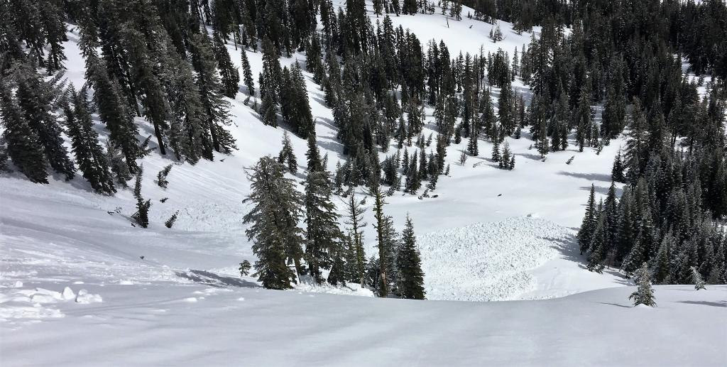 "Debris at the bottom of the slope form both loose wet and the <a href=""/avalanche-terms/slab"" title=""A relatively cohesive snowpack layer."" class=""lexicon-term"">slab</a> <a href=""/avalanche-terms/avalanche"" title=""A mass of snow sliding, tumbling, or flowing down an inclined surface."" class=""lexicon-term"">avalanche</a>"