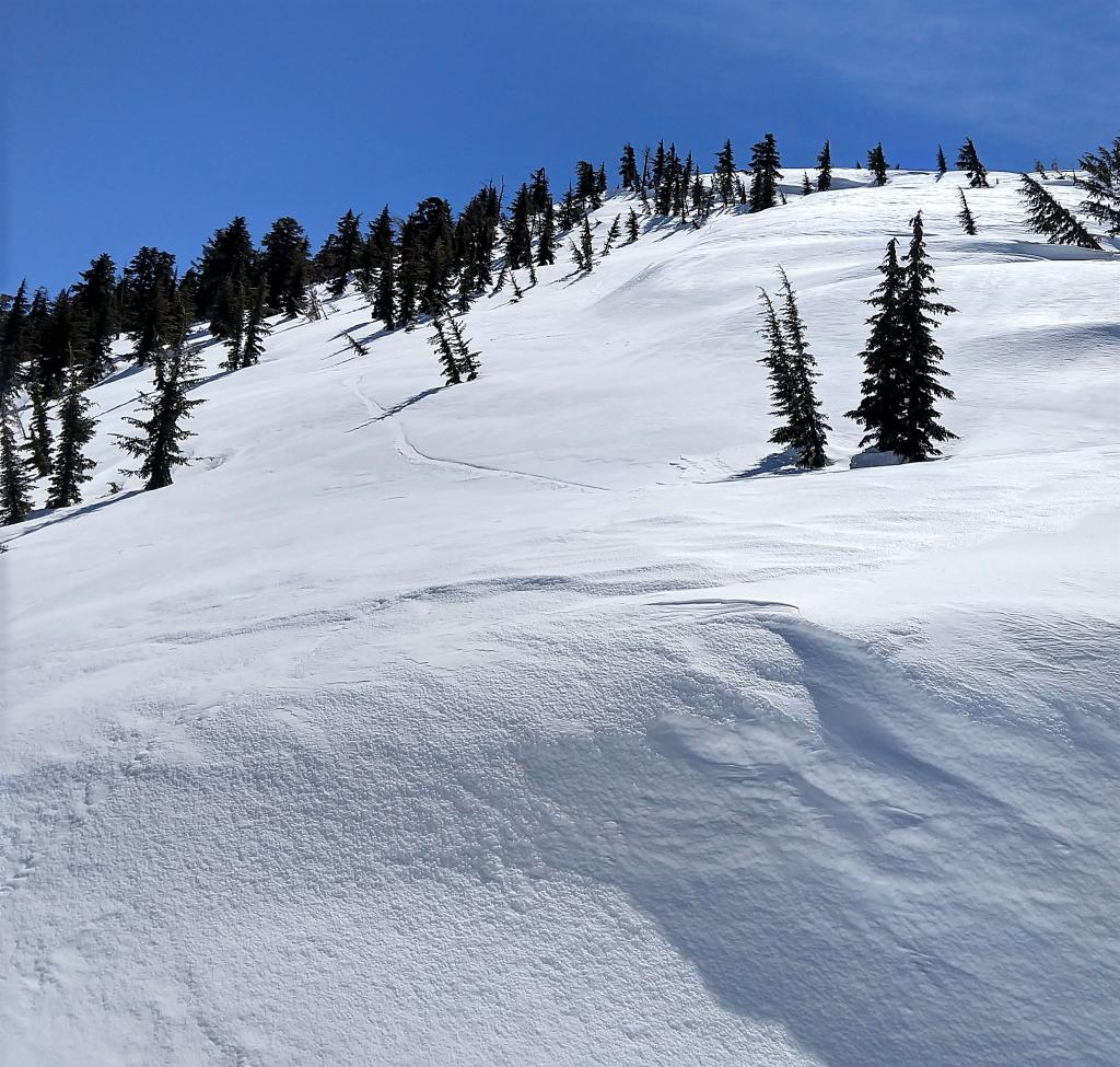 "The thin veneer of new snow was scoured away from the exposed northerly <a href=""https://www.sierraavalanchecenter.org/avalanche-terms/aspect"" title=""The compass direction a slope faces (i.e. North, South, East, or West.)"" class=""lexicon-term"">aspects</a> leaving a firm icy crust behind."