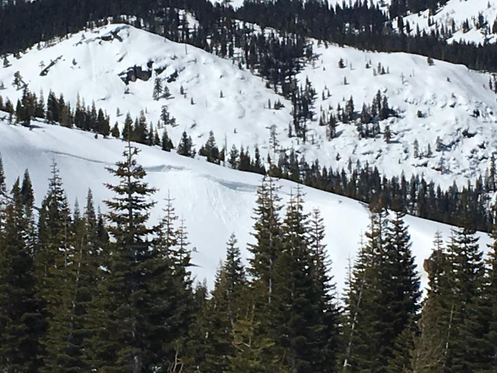 """E facing <a href=""""/avalanche-terms/cornice"""" title=""""A mass of snow deposited by the wind, often overhanging, and usually near a sharp terrain break such as a ridge. Cornices can break off unexpectedly and should be approached with caution."""" class=""""lexicon-term"""">cornice</a> break"""