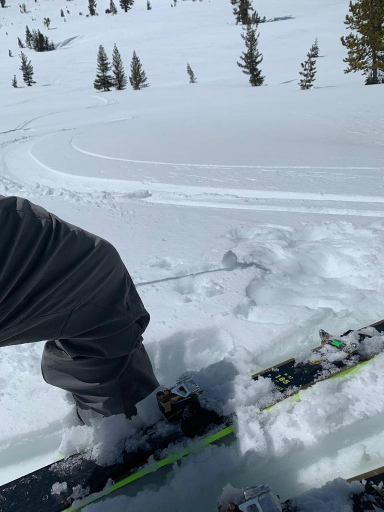 Smooth warm non-sticky South Facing turns to 8200' at 2p - supported on skis but shin deep w boots