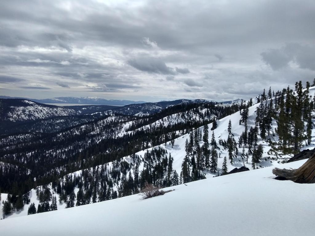 Looking south along the Crest through the Tahoe Basin. Potentially more sun further south.