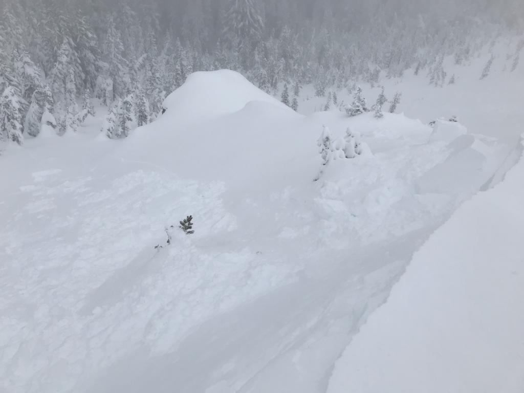 """reactive <a href=""""/avalanche-terms/cornice"""" title=""""A mass of snow deposited by the wind, often overhanging, and usually near a sharp terrain break such as a ridge. Cornices can break off unexpectedly and should be approached with caution."""" class=""""lexicon-term"""">cornice</a> and <a href=""""/avalanche-terms/wind-slab"""" title=""""A cohesive layer of snow formed when wind deposits snow onto leeward terrain. Wind slabs are often smooth and rounded and sometimes sound hollow."""" class=""""lexicon-term"""">wind slab</a>"""