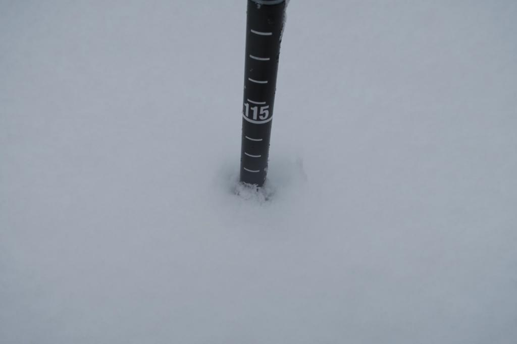 Snow depths at and just below summit ranged from 100 - 115 cms