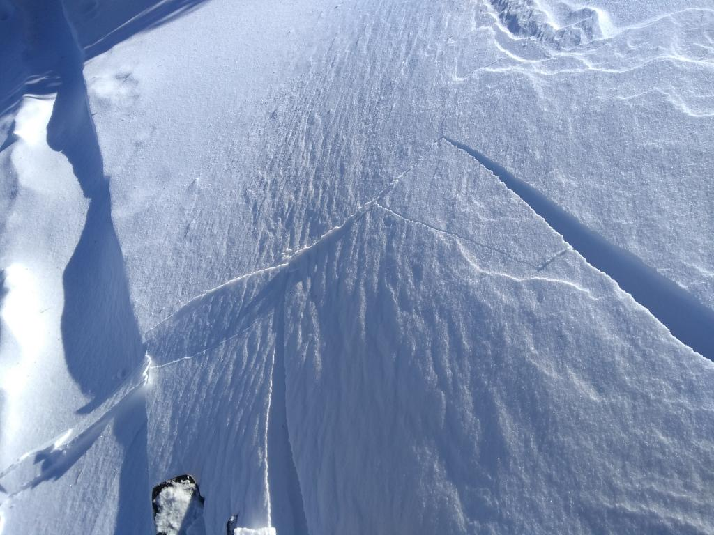 """Skier <a href=""""/avalanche-terms/trigger"""" title=""""A disturbance that initiates fracture within the weak layer causing an avalanche. In 90 percent of avalanche accidents, the victim or someone in the victims party triggers the avalanche."""" class=""""lexicon-term"""">triggered</a> cracking of wind pillow."""