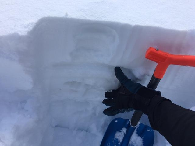 """Below 7800&#039;, 6-8&#039;&#039; of lighter <a href=""""/avalanche-terms/snow-density"""" title=""""The mass of snow per unit volume, but often expressed as a percent water content. New fallen powder has a low density (3-10%), while heavy or wet snow is more dense (10-20%)."""" class=""""lexicon-term"""">density</a> snow on top of 6&#039;&#039; of rain soaked snow."""