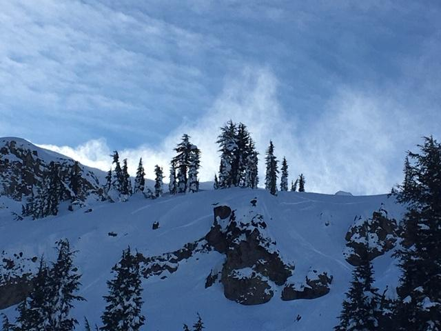 Ridgetop blowing snow at noon.
