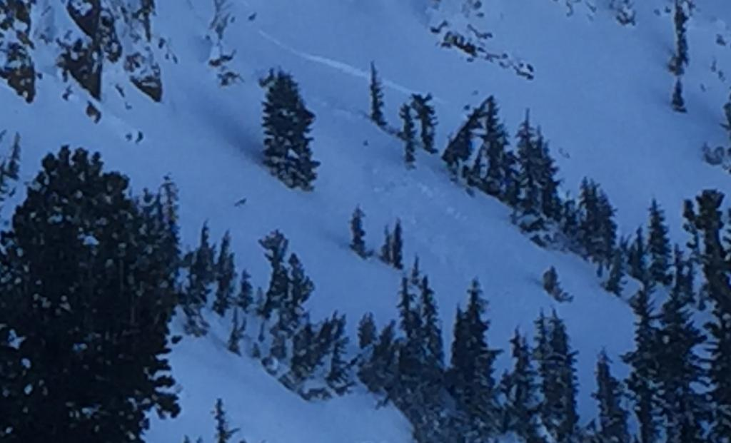 "small mid slope <a href=""/avalanche-terms/avalanche"" title=""A mass of snow sliding, tumbling, or flowing down an inclined surface."" class=""lexicon-term"">slide</a>"