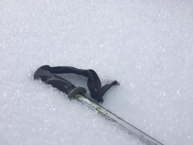 """10mm <a href=""""/avalanche-terms/surface-hoar"""" title=""""Featherly crystals that form on the snow surface during clear and calm conditions - essentially frozen dew. Forms a persistent weak layer once buried."""" class=""""lexicon-term"""">surface hoar</a> on a slight NE <a href=""""/avalanche-terms/aspect"""" title=""""The compass direction a slope faces (i.e. North, South, East, or West.)"""" class=""""lexicon-term"""">aspect</a> at ~7,150&#039;."""