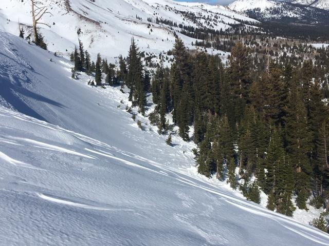 """Partially filled in <a href=""""/avalanche-terms/crown-face"""" title=""""The top fracture surface of a slab avalanche. Usually smooth, clean cut, and angled 90 degrees to the bed surface."""" class=""""lexicon-term"""">crown</a> line with <a href=""""/avalanche-terms/avalanche"""" title=""""A mass of snow sliding, tumbling, or flowing down an inclined surface."""" class=""""lexicon-term"""">avalanche</a> debris below."""
