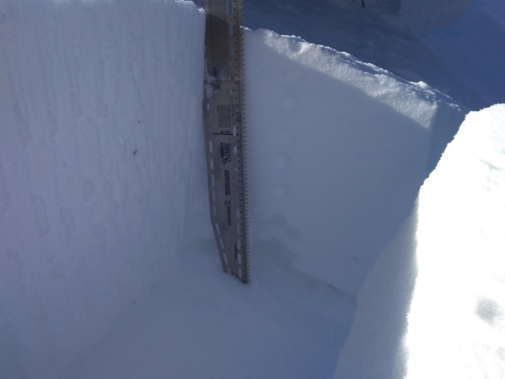 """1&#039; deep pencil hard <a href=""""/avalanche-terms/wind-slab"""" title=""""A cohesive layer of snow formed when wind deposits snow onto leeward terrain. Wind slabs are often smooth and rounded and sometimes sound hollow."""" class=""""lexicon-term"""">wind slab</a>."""
