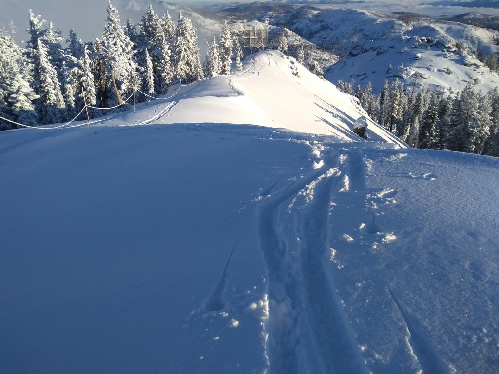 New snow on the Mt. Judah ridgetop, available for wind transport.