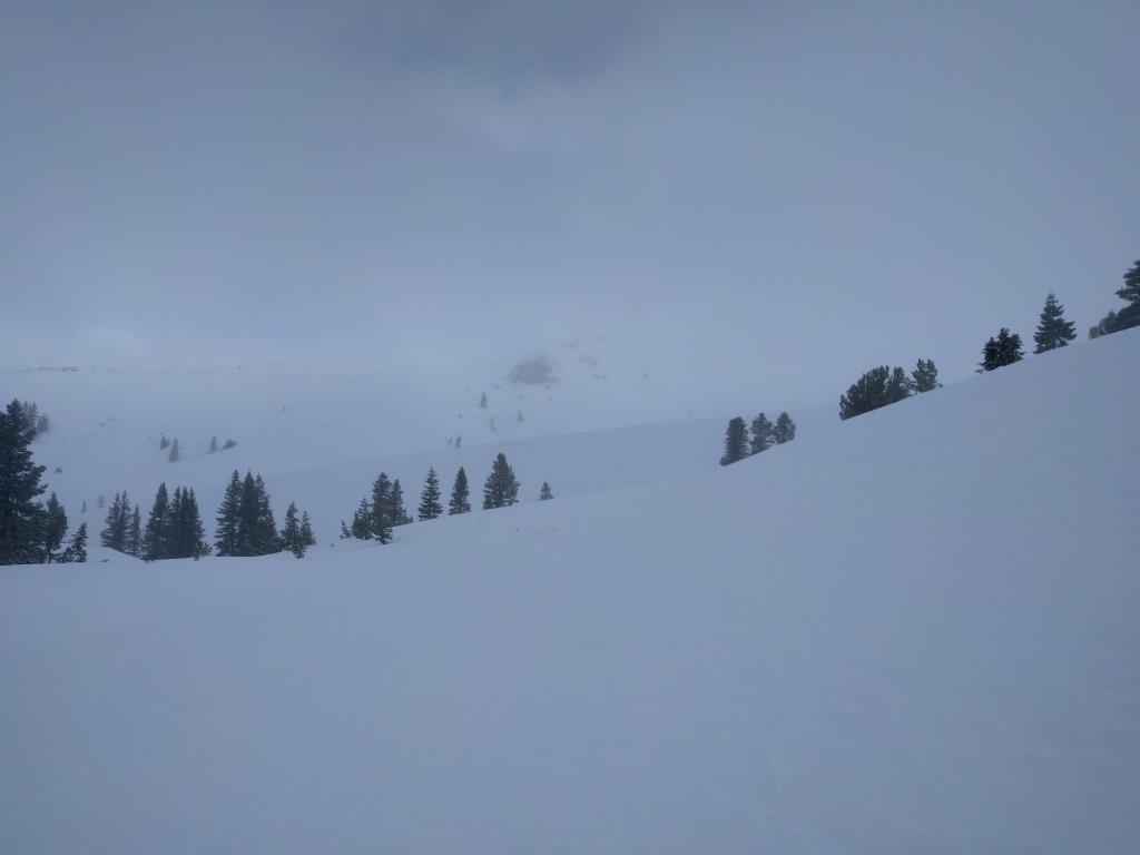 Snow transport over the saddle point between the ridges. The wind direction is ENE
