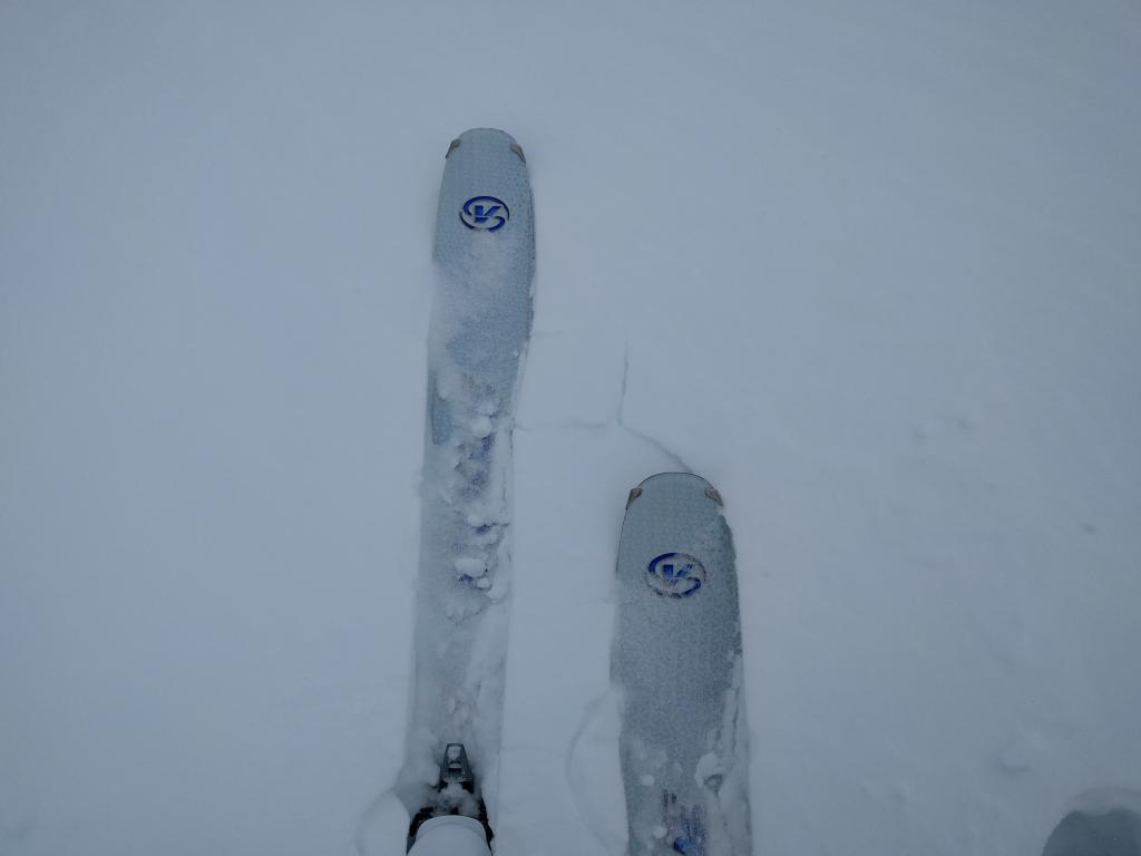 Small cracks in the snowpack near tree line. At this elevation the cracks are only between skis