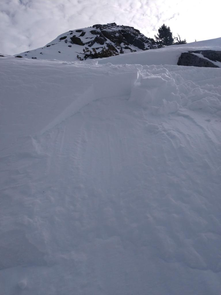 """<a href=""""/avalanche-terms/crown-face"""" title=""""The top fracture surface of a slab avalanche. Usually smooth, clean cut, and angled 90 degrees to the bed surface."""" class=""""lexicon-term"""">Crown</a> on test slope"""