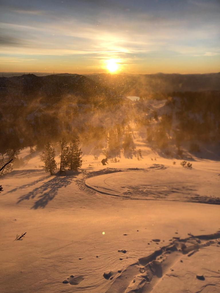 Blowing snow and new wind drifts near summit of Tamarack