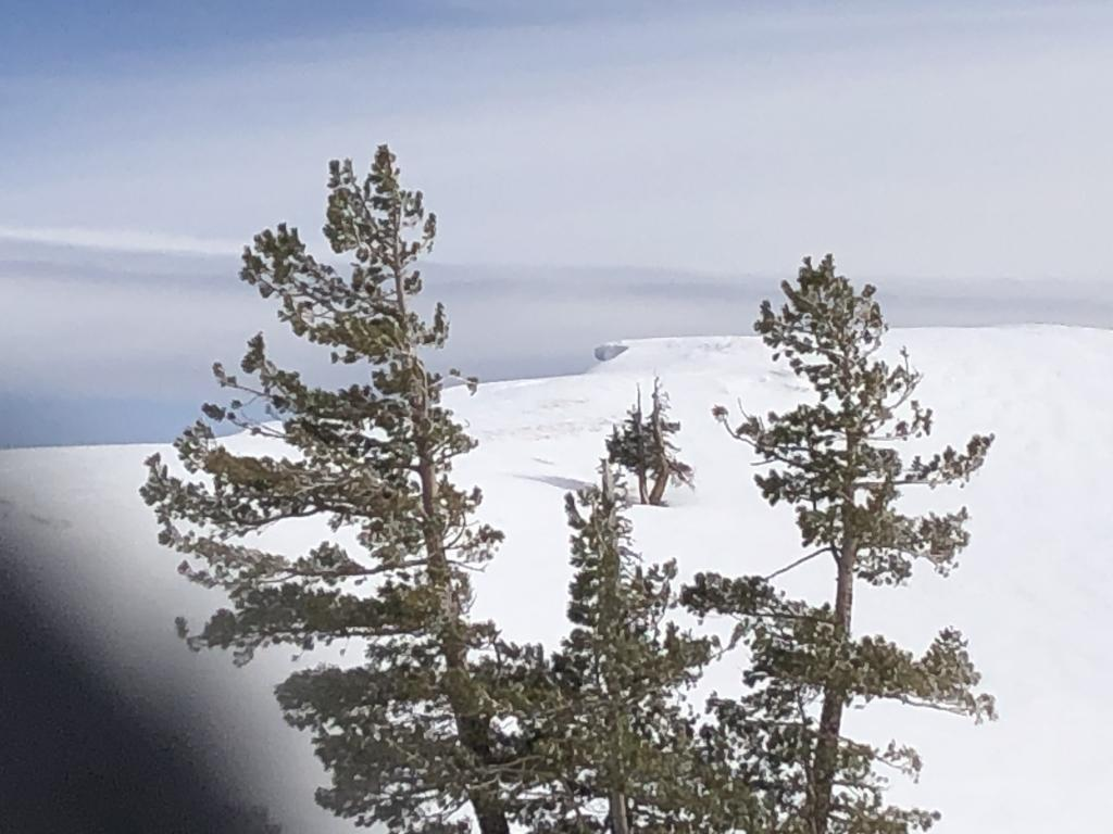 """<a href=""""/avalanche-terms/cornice"""" title=""""A mass of snow deposited by the wind, often overhanging, and usually near a sharp terrain break such as a ridge. Cornices can break off unexpectedly and should be approached with caution."""" class=""""lexicon-term"""">Cornice</a> on north <a href=""""/avalanche-terms/aspect"""" title=""""The compass direction a slope faces (i.e. North, South, East, or West.)"""" class=""""lexicon-term"""">aspect</a>"""