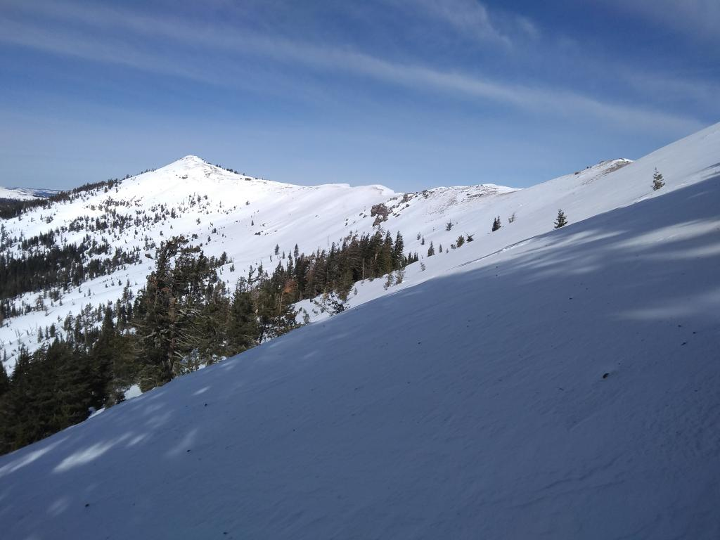"""Castle-Basin Ridge showing very little <a href=""""/avalanche-terms/wind-loading"""" title=""""The added weight of wind drifted snow."""" class=""""lexicon-term"""">wind loading</a> from NE winds."""