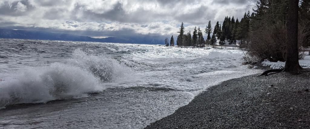 Large NE wind created waves crashing into the west shore of Lake Tahoe.