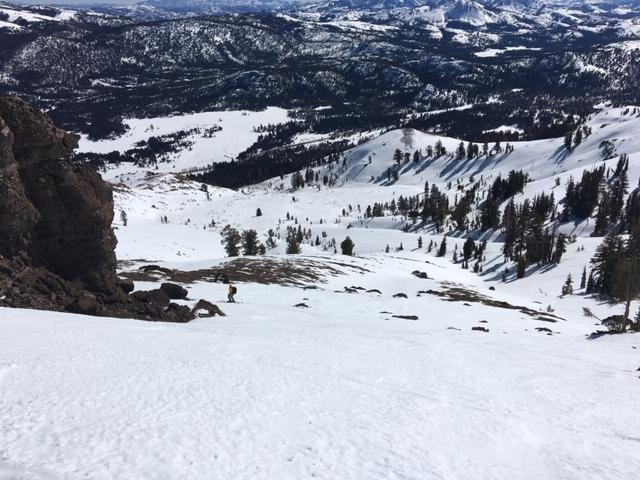 "SE <a href=""/avalanche-terms/aspect"" title=""The compass direction a slope faces (i.e. North, South, East, or West.)"" class=""lexicon-term"">aspects</a> softened around midday on slopes around 9000&#039;."