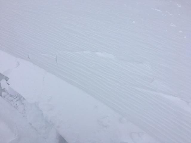 """Cracking in <a href=""""/avalanche-terms/wind-loading"""" title=""""The added weight of wind drifted snow."""" class=""""lexicon-term"""">wind loaded</a> areas with 4-8&#039;&#039; <a href=""""/avalanche-terms/wind-slab"""" title=""""A cohesive layer of snow formed when wind deposits snow onto leeward terrain. Wind slabs are often smooth and rounded and sometimes sound hollow."""" class=""""lexicon-term"""">wind slabs</a>."""