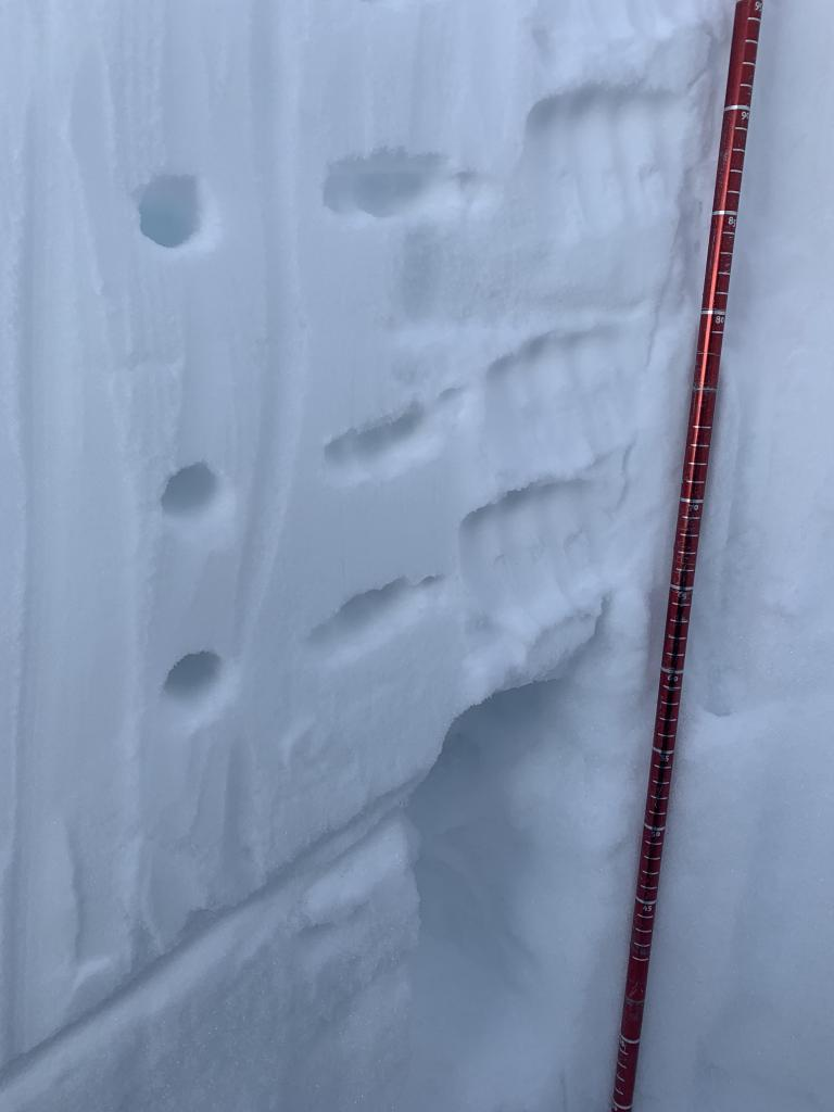 """Near Surface <a href=""""/avalanche-terms/faceted-snow"""" title=""""Angular snow with poor bonding created from large temperature gradients within the snowpack."""" class=""""lexicon-term"""">Facets</a> at 150cm down below 1-finger hard snow"""