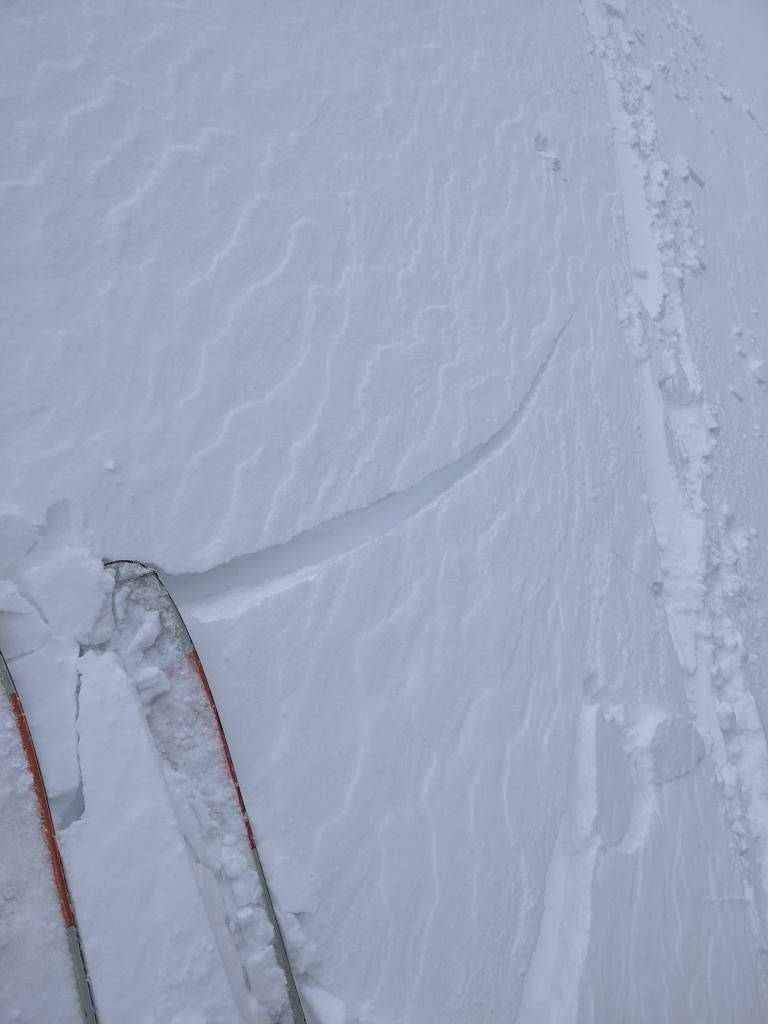 """<a href=""""/avalanche-terms/wind-slab"""" title=""""A cohesive layer of snow formed when wind deposits snow onto leeward terrain. Wind slabs are often smooth and rounded and sometimes sound hollow."""" class=""""lexicon-term"""">Wind slab</a> cracking in previously undercut area."""
