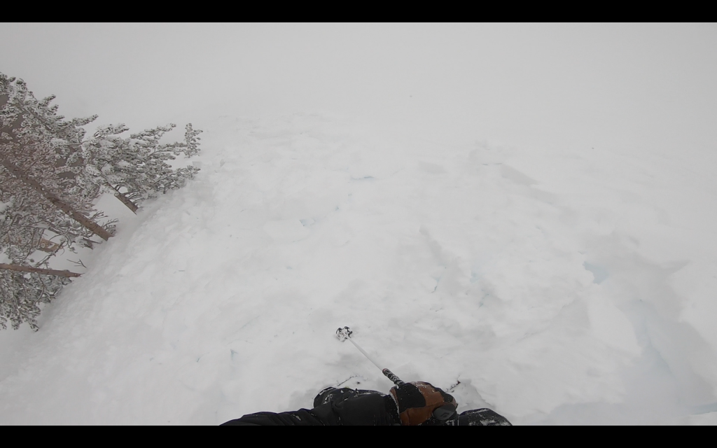 """Small <a href=""""/avalanche-terms/avalanche"""" title=""""A mass of snow sliding, tumbling, or flowing down an inclined surface."""" class=""""lexicon-term"""">avalanche</a> debris.  Ran ~100&#039; vertical."""