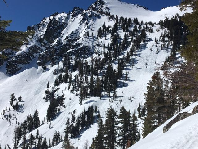 Main bowl of Tallac with previous loose wet activity.