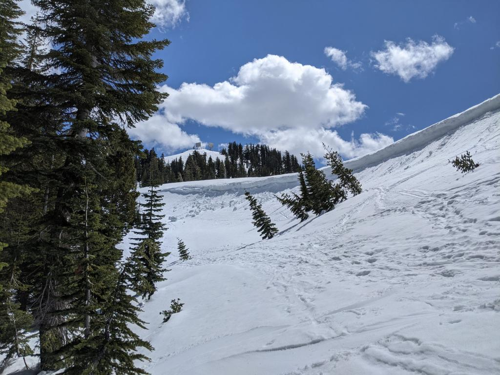 """Skier <a href=""""/avalanche-terms/trigger"""" title=""""A disturbance that initiates fracture within the weak layer causing an avalanche. In 90 percent of avalanche accidents, the victim or someone in the victims party triggers the avalanche."""" class=""""lexicon-term"""">triggered</a> <a href=""""/avalanche-terms/cornice"""" title=""""A mass of snow deposited by the wind, often overhanging, and usually near a sharp terrain break such as a ridge. Cornices can break off unexpectedly and should be approached with caution."""" class=""""lexicon-term"""">cornice</a> <a href=""""/avalanche-terms/collapse"""" title=""""When the fracture of a lower snow layer causes an upper layer to fall. Also called a whumpf, this is an obvious sign of instability."""" class=""""lexicon-term"""">collapse</a> from 4/15."""