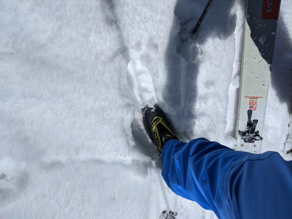 Boot top deep wet snow at 8500 ft. at 10:30 am.
