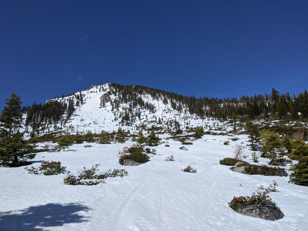Overview of the east side of Jakes above 7200 ft.