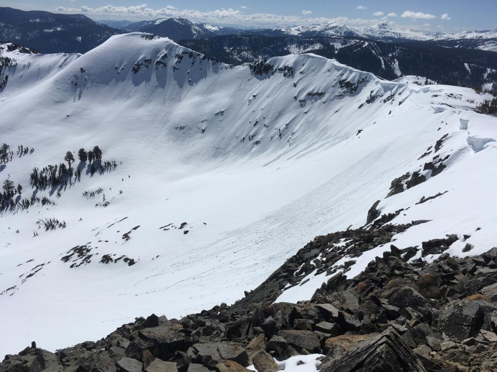 "Photo of the area of the <a href=""/avalanche-terms/avalanche"" title=""A mass of snow sliding, tumbling, or flowing down an inclined surface."" class=""lexicon-term"">avalanche</a> from the summit of Ralston about an hour before <a href=""/avalanche-terms/avalanche"" title=""A mass of snow sliding, tumbling, or flowing down an inclined surface."" class=""lexicon-term"">slide</a>."
