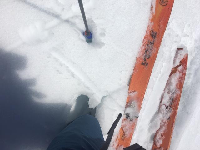 "Knee deep boot pen at 9:30am on E <a href=""/avalanche-terms/aspect"" title=""The compass direction a slope faces (i.e. North, South, East, or West.)"" class=""lexicon-term"">aspect</a> at 7600&#039;."