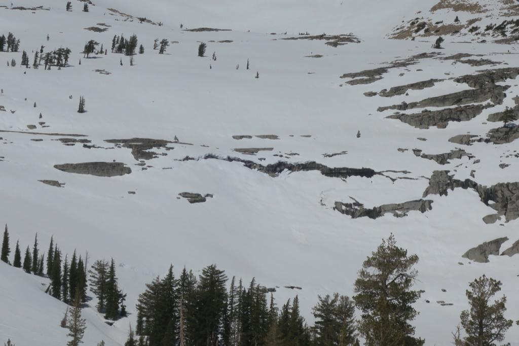"Multiple <a href=""/avalanche-terms/glide"" title=""When the entire snowpack slowly moves as a unit on the ground, similar to a glacier."" class=""lexicon-term"">glide</a> cracks on the east face of Pyramid."