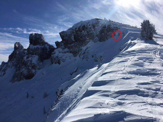"""A possible small <a href=""""/avalanche-terms/wind-slab"""" title=""""A cohesive layer of snow formed when wind deposits snow onto leeward terrain. Wind slabs are often smooth and rounded and sometimes sound hollow."""" class=""""lexicon-term"""">wind slab</a> from during the storm"""