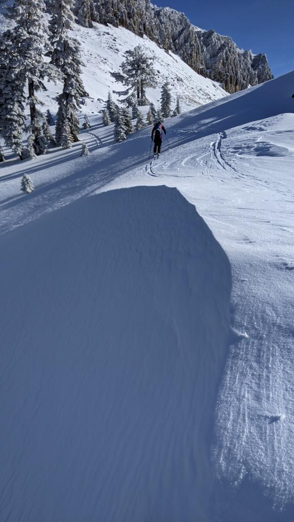 """A wind-<a href=""""/avalanche-terms/loading"""" title=""""The addition of weight on top of a snowpack, usually from precipitation, wind drifting, or a person."""" class=""""lexicon-term"""">loaded</a> test slope on the Castle Peak ridge"""