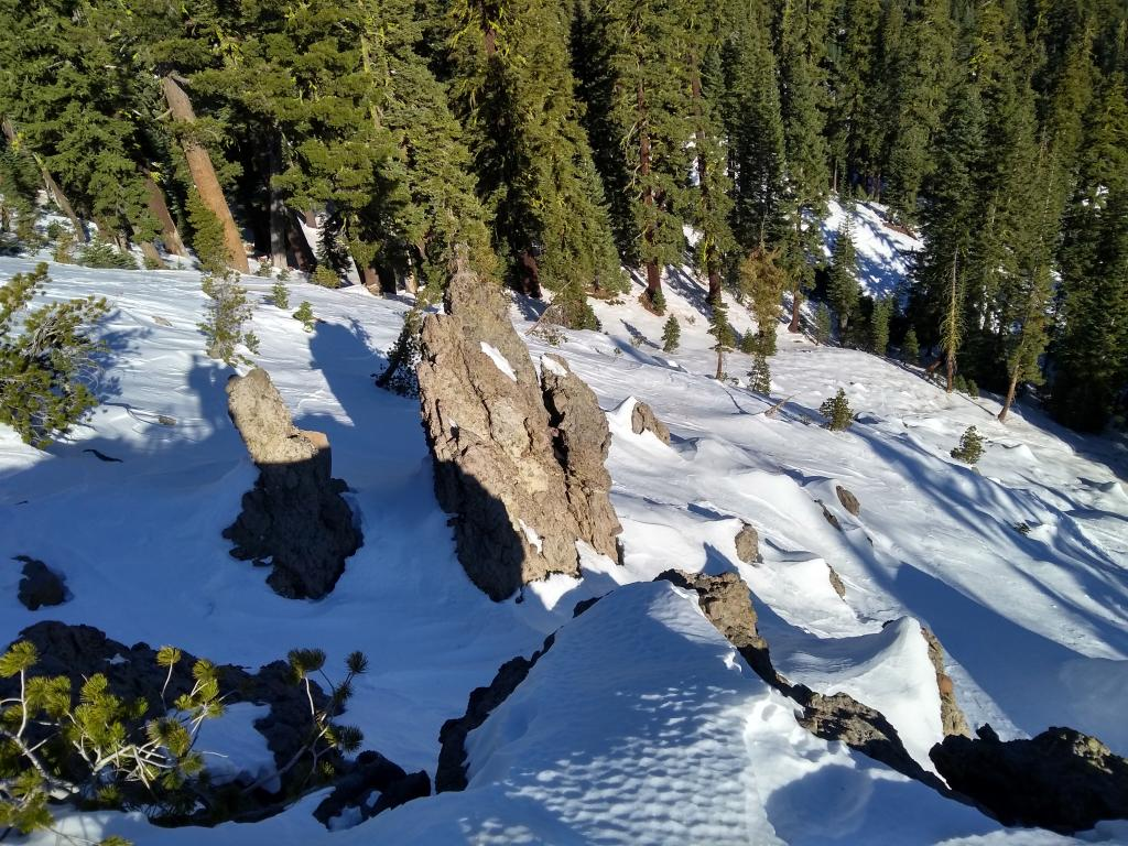 Shallow supportable snowpack with numerous but avoidable hazards.