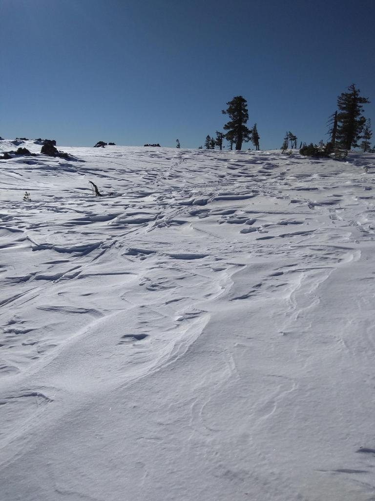 """Previous wind scouring on the ridgetop leaving behind <a href=""""/avalanche-terms/sastrugi"""" title=""""Wind eroded snow, which often looks rough like frozen waves. Usually found on windward slopes."""" class=""""lexicon-term"""">sastrugi</a> formations."""