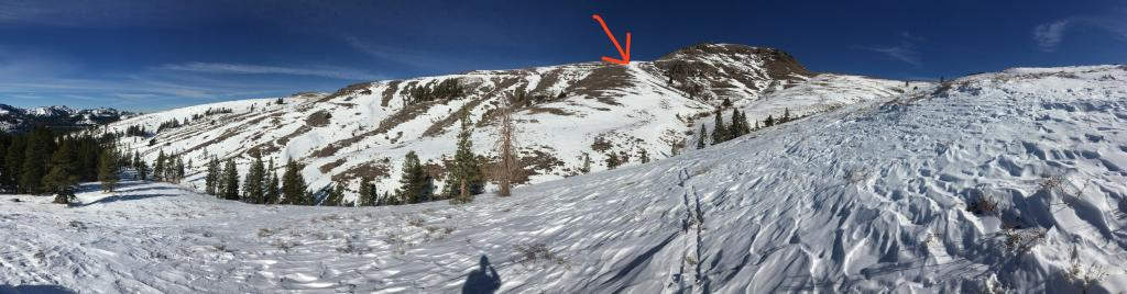 """Tour objective and <a href=""""/avalanche-terms/snowpit"""" title=""""A pit dug vertically into the snowpack where snow layering is observed and stability tests may be performed. Also called a snow profile."""" class=""""lexicon-term"""">snow profile</a> location (arrow)"""