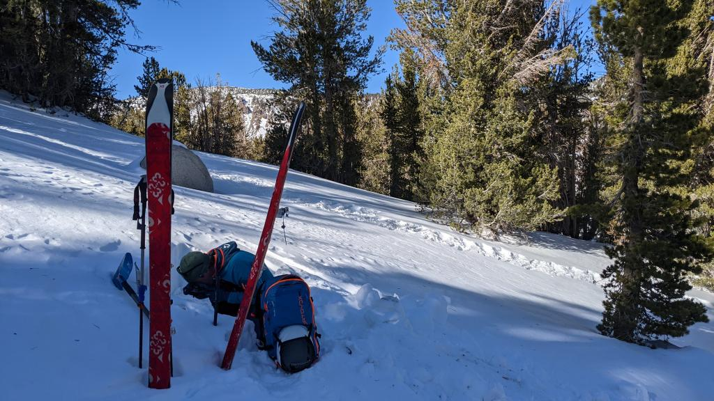 """<a href=""""/avalanche-terms/snowpit"""" title=""""A pit dug vertically into the snowpack where snow layering is observed and stability tests may be performed. Also called a snow profile."""" class=""""lexicon-term"""">Pit</a> location on a NE <a href=""""/avalanche-terms/aspect"""" title=""""The compass direction a slope faces (i.e. North, South, East, or West.)"""" class=""""lexicon-term"""">aspect</a>"""